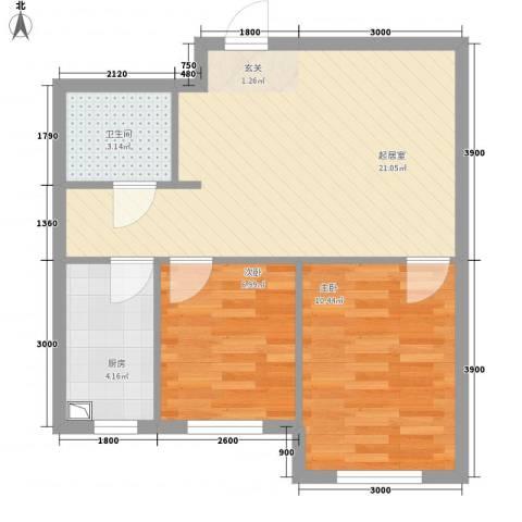 宏业枫华2室0厅1卫1厨62.00㎡户型图