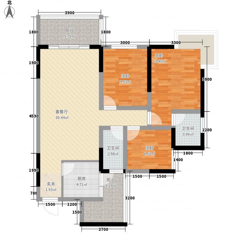 凤翎锦绣3215.42㎡A户型3室2厅2卫1厨