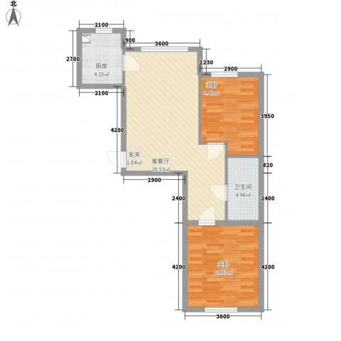 宏业枫华2室1厅1卫1厨77.00㎡户型图