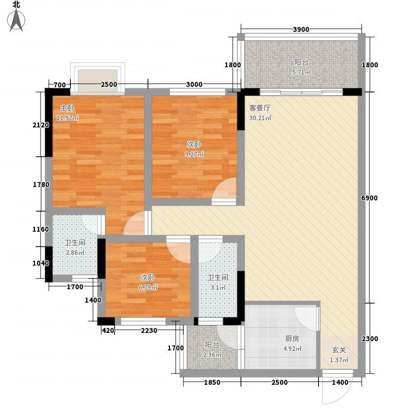 凤翎锦绣3212.74㎡B户型3室2厅2卫1厨