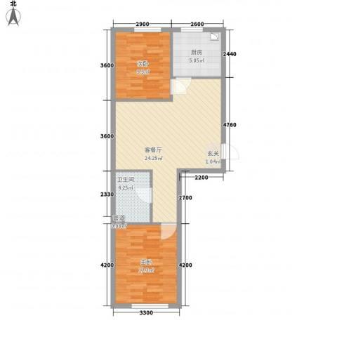 宏业枫华2室1厅1卫1厨73.00㎡户型图