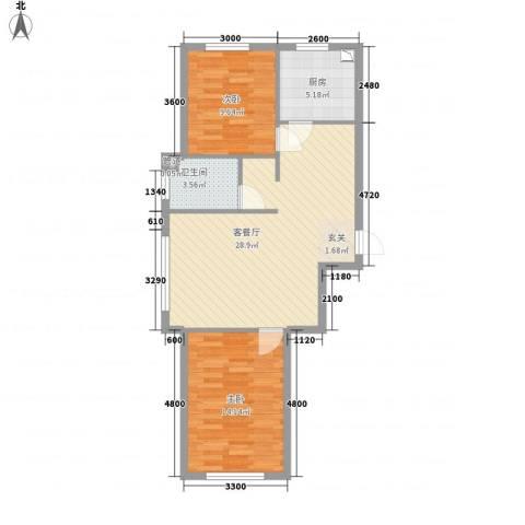 宏业枫华2室1厅1卫1厨86.00㎡户型图