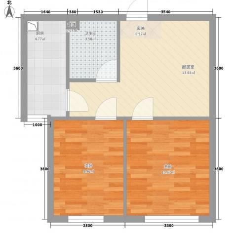 宏业枫华2室0厅1卫1厨58.00㎡户型图