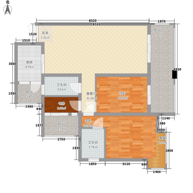 滨江又一城16.87㎡F3户型3室2厅2卫1厨