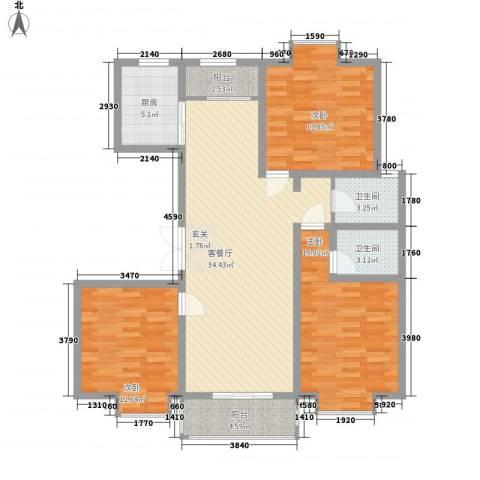 紫金领秀二期3室1厅2卫1厨136.00㎡户型图