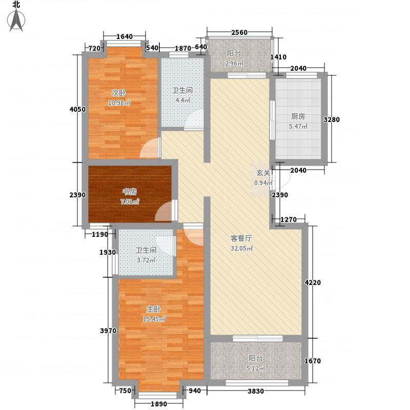 佳水-岸小镇126.20㎡B1-制作稿户型3室2厅2卫1厨
