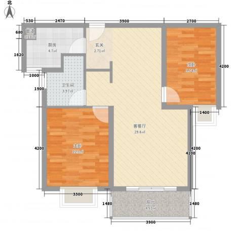 御天城腾龙郡2室1厅1卫1厨93.00㎡户型图