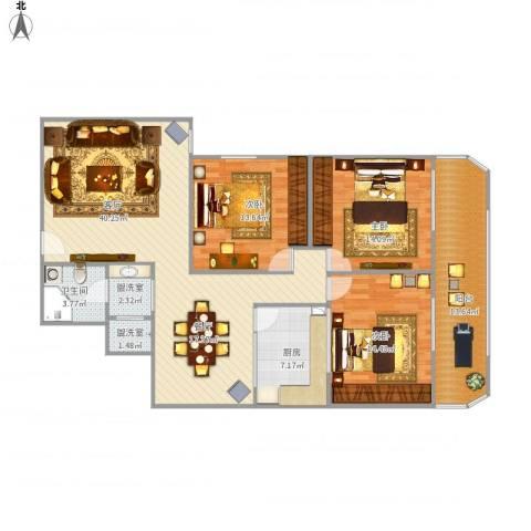 桃园3室3厅1卫1厨149.00㎡户型图