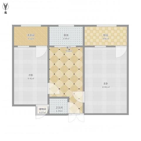 鸭子桥北里2室1厅1卫1厨61.00㎡户型图