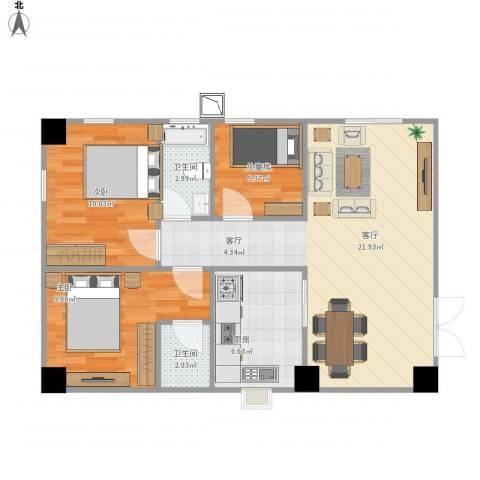 雅宝新城别墅3室1厅2卫1厨120.00㎡户型图
