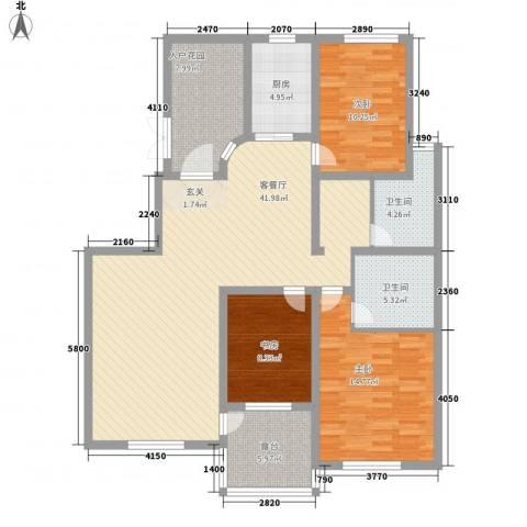 鼎盛・帕堤欧3室1厅2卫1厨148.00㎡户型图