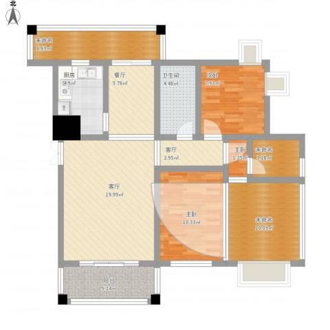 海关宿舍9013室3厅1卫1厨124.00㎡户型图