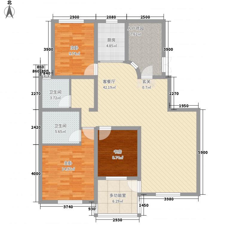 鼎盛・帕堤欧147.38㎡H户型3室2厅2卫1厨