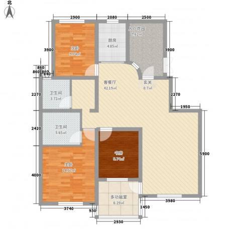 鼎盛・帕堤欧3室1厅2卫1厨147.00㎡户型图