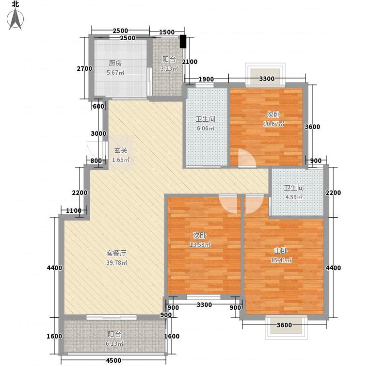 景江国际126.47㎡A1(2)户型3室2厅2卫1厨