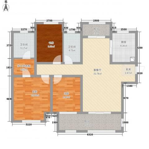 新城公馆3室1厅2卫1厨146.00㎡户型图