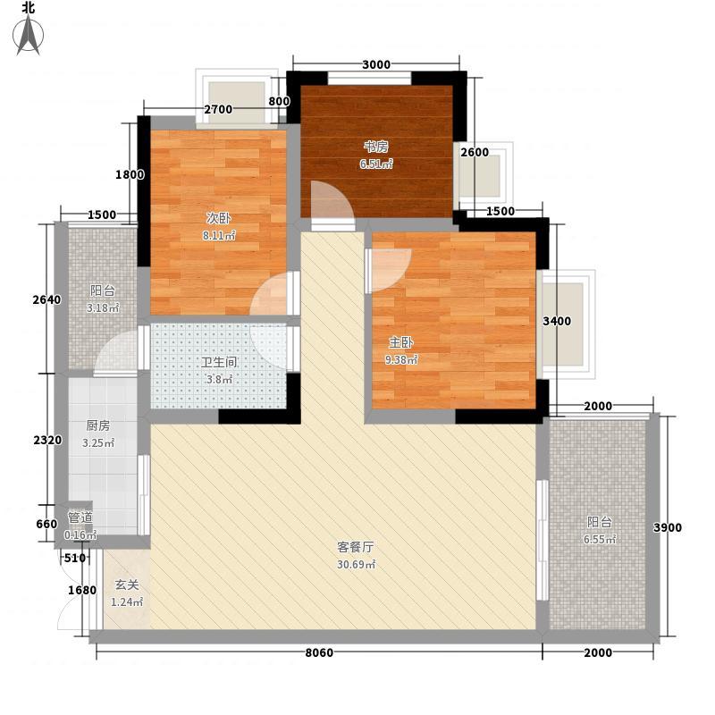 曦城上品6.38㎡D栋D1户型3室2厅1卫1厨