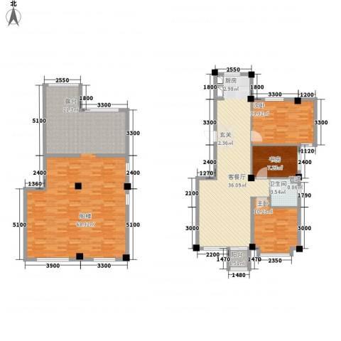 城南公馆3室1厅1卫0厨196.00㎡户型图
