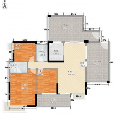 里维埃拉3室1厅2卫1厨187.00㎡户型图