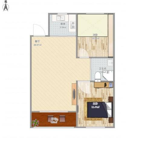 澳海澜庭2室1厅1卫1厨81.00㎡户型图