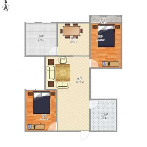 机车新村2室2厅1卫1厨98.00㎡户型图