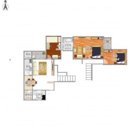 阳光四季小区3室1厅2卫2厨94.00㎡户型图