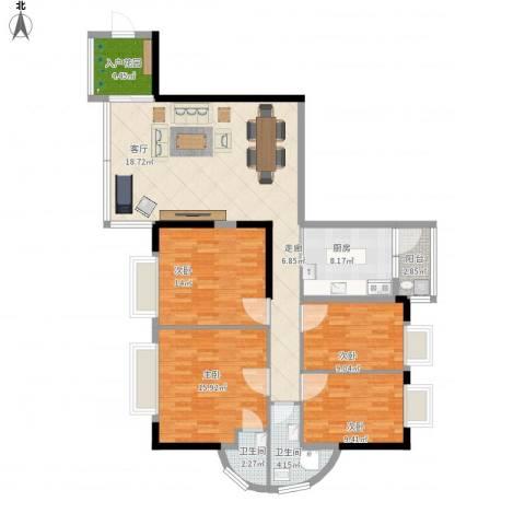 粤港花园4室1厅2卫1厨151.00㎡户型图