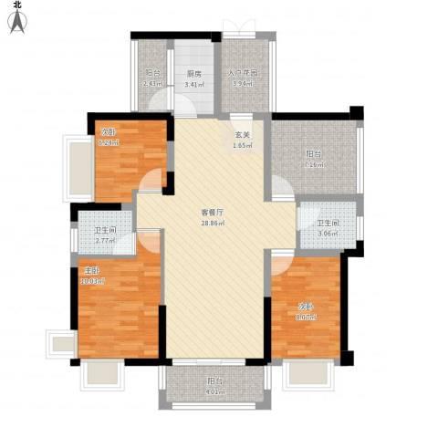 碧琴湾花园3室1厅2卫1厨117.00㎡户型图