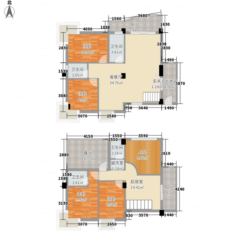 昌泰盛世家园11.47㎡V1楼中楼户型4室2厅3卫1厨