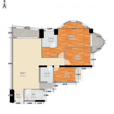 亿海湾3室1厅2卫1厨137.00㎡户型图