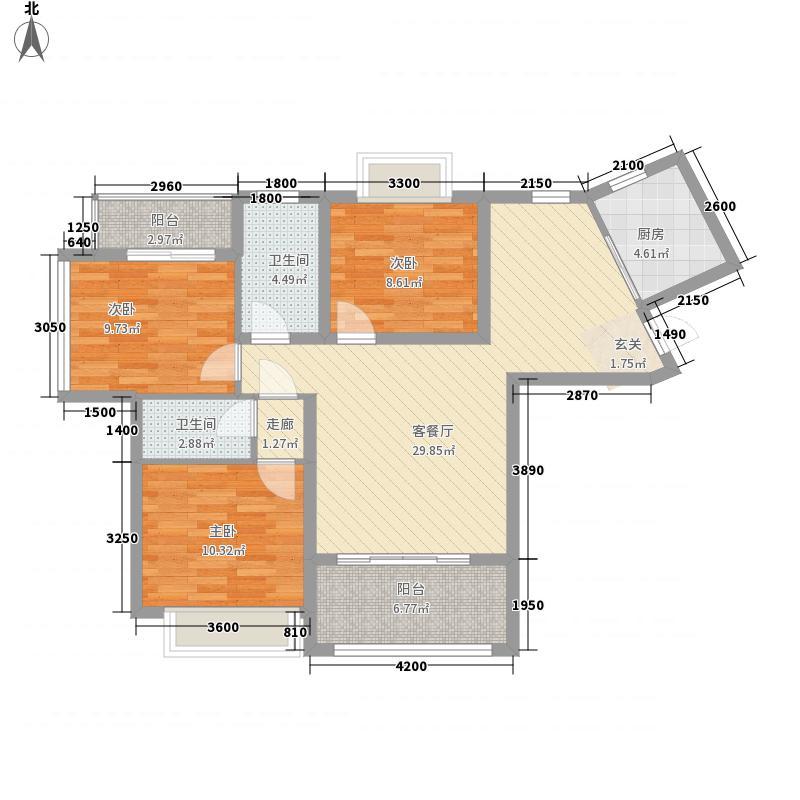 水岸阳光322116.59㎡D户型3室2厅2卫1厨