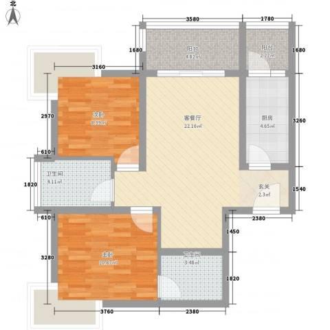 苹果城2室1厅2卫1厨60.71㎡户型图