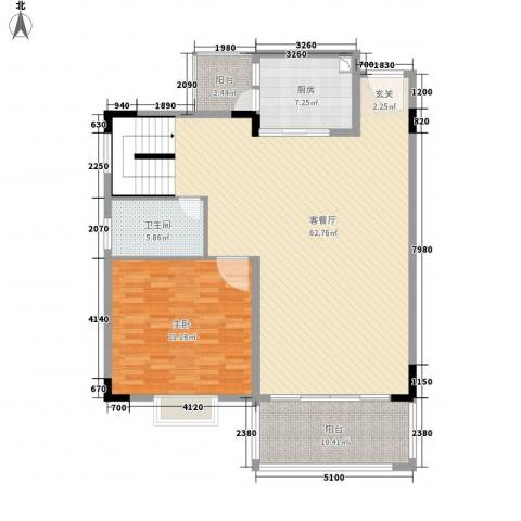 骏雅豪园1室1厅1卫1厨153.00㎡户型图