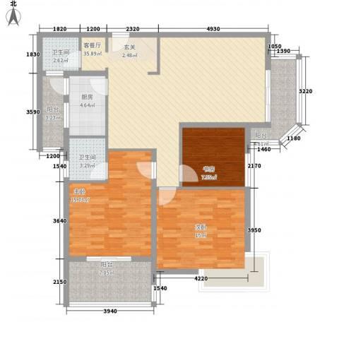 苹果城3室1厅2卫1厨132.00㎡户型图