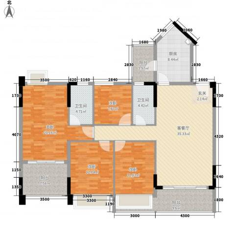 洛浦园4室1厅2卫1厨176.00㎡户型图
