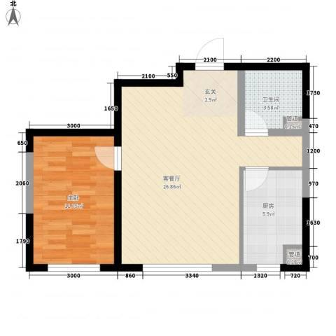 鑫城广场1室1厅1卫1厨69.00㎡户型图
