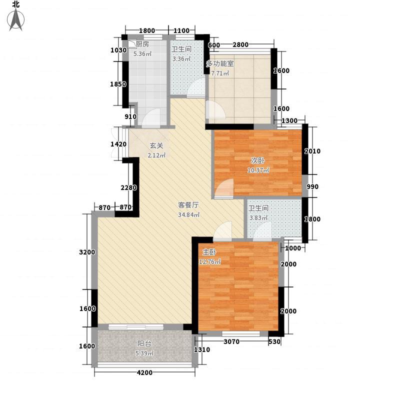 滨江花园12.00㎡8#B户型3室2厅2卫1厨
