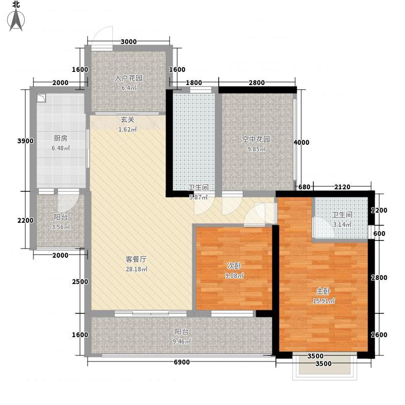 天湖御林湾1214.32㎡F1-2户型2室2厅2卫1厨