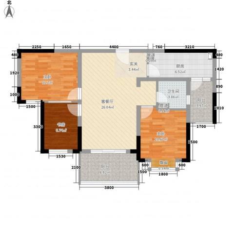 中国铁建领秀城3室1厅1卫1厨87.22㎡户型图