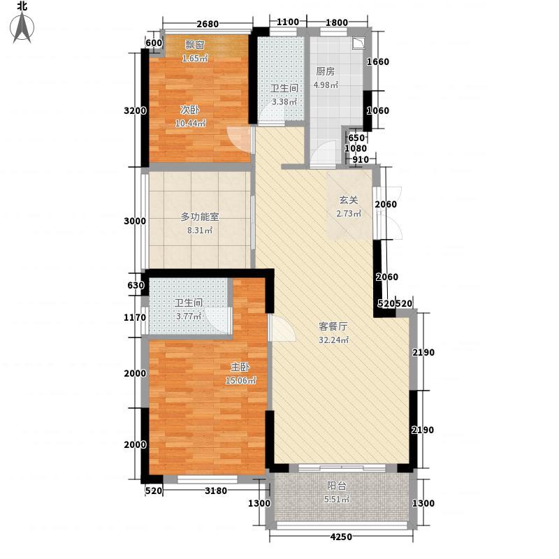 滨江花园13.00㎡8#A户型3室2厅2卫1厨