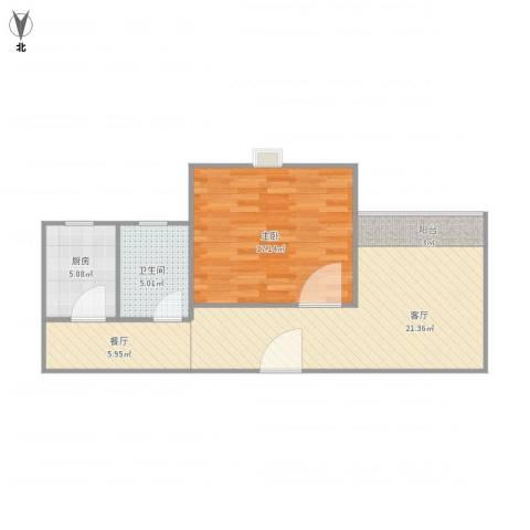 丽泽菊清苑5号103室60平精装1室2厅1卫1厨75.00㎡户型图
