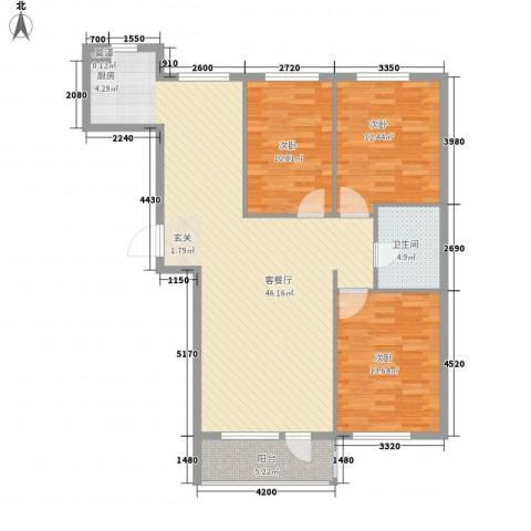 金御蓝湾3室1厅1卫0厨129.00㎡户型图