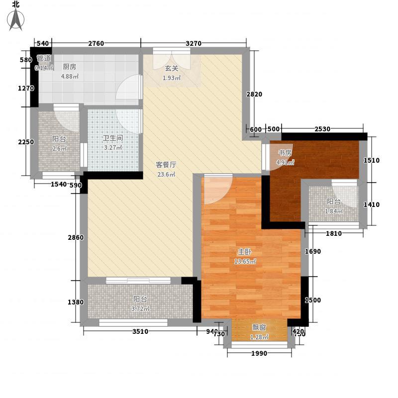 桥达蓝湾半岛72.80㎡一期高层所有楼栋标准层A3户型1室2厅1卫1厨