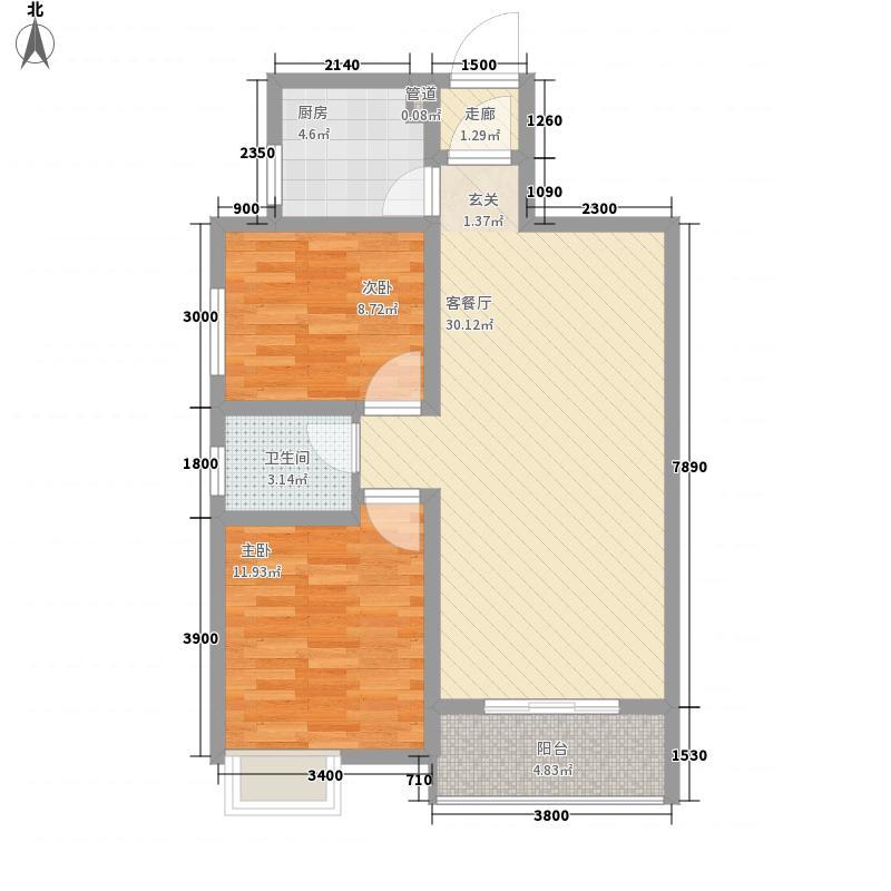 华宇景观天下4.34㎡DE-9434户型2室2厅1卫1厨