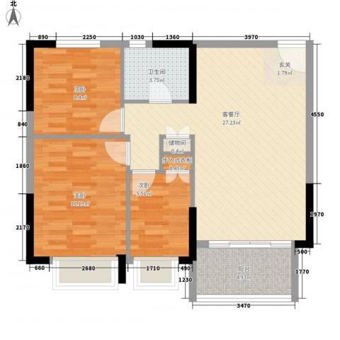 星城格调3室1厅1卫0厨89.00㎡户型图