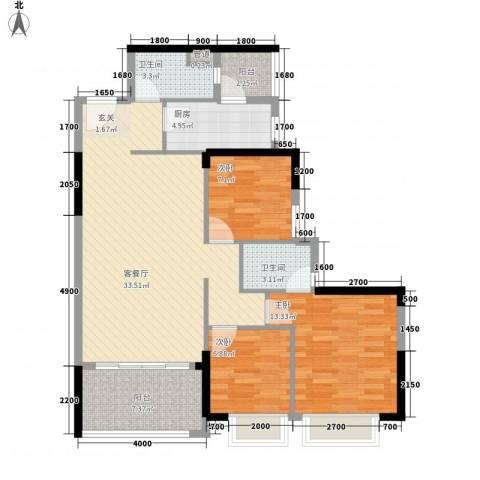 星城格调3室1厅2卫1厨82.04㎡户型图