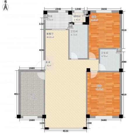 天成雅典2室1厅2卫1厨137.00㎡户型图