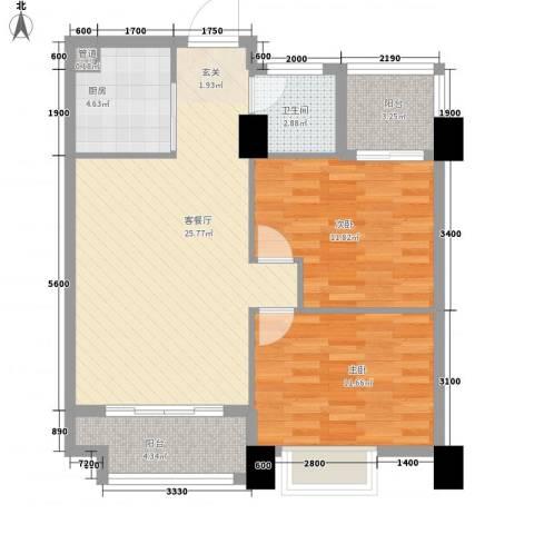 金水湾・城市广场2室1厅1卫1厨64.54㎡户型图