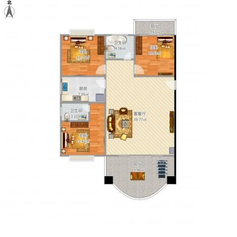 华林绿景花园3室1厅2卫1厨145.00㎡户型图