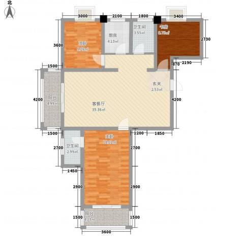 众亿名门3室1厅2卫1厨1118.00㎡户型图